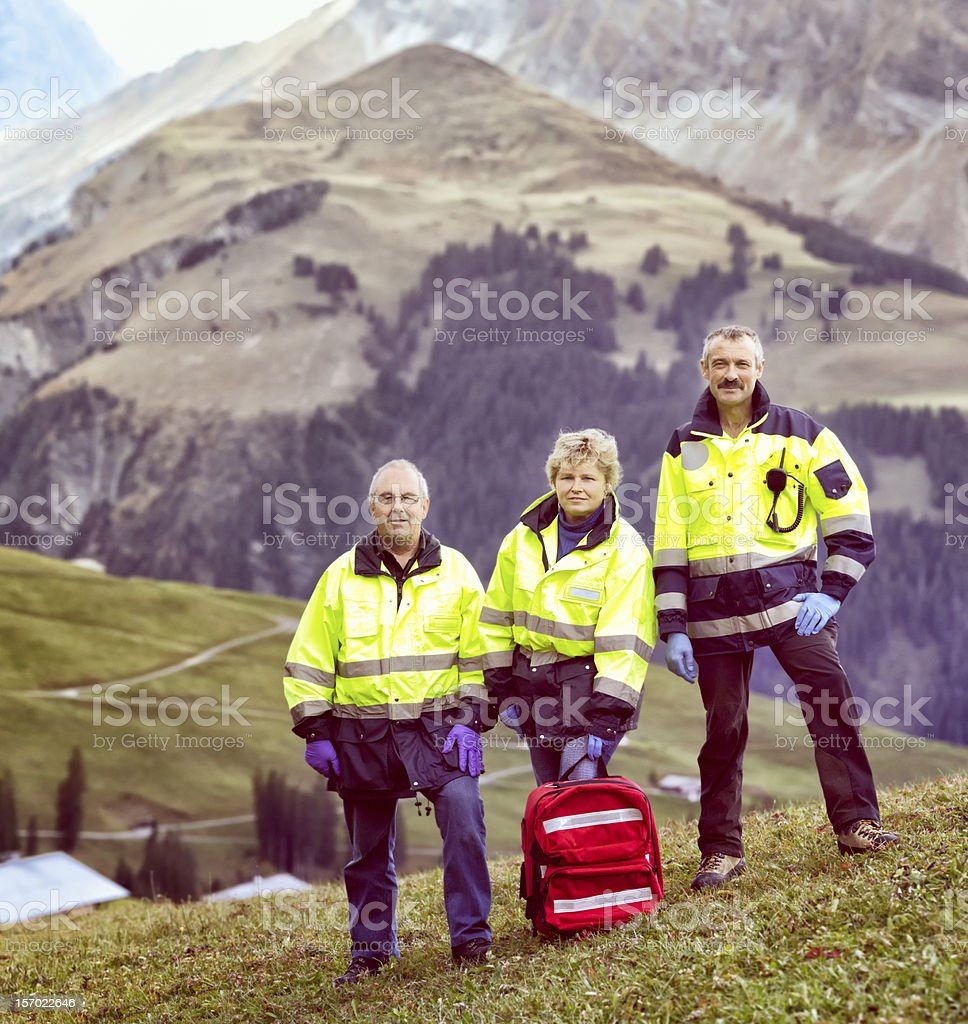 Swiss Alps Paramedic rescue team royalty-free stock photo