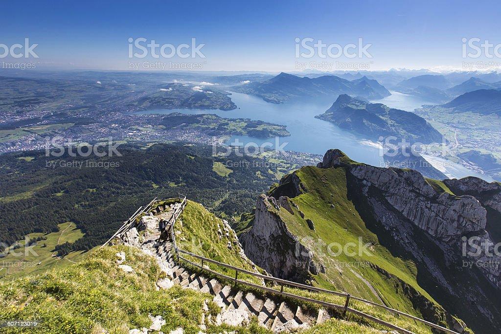 Swiss Alps view from Mount Pilatus, Lucerne Switzerland stock photo