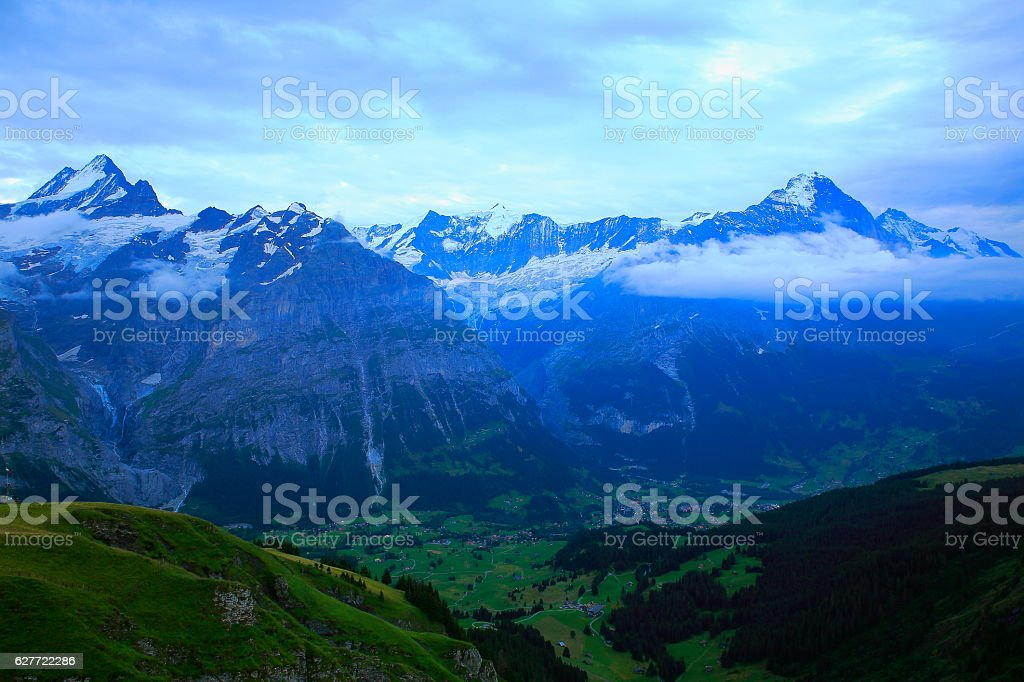 Swiss Alps: Wetterhorn and Eiger massif above Grindelwald, dramatic evening stock photo