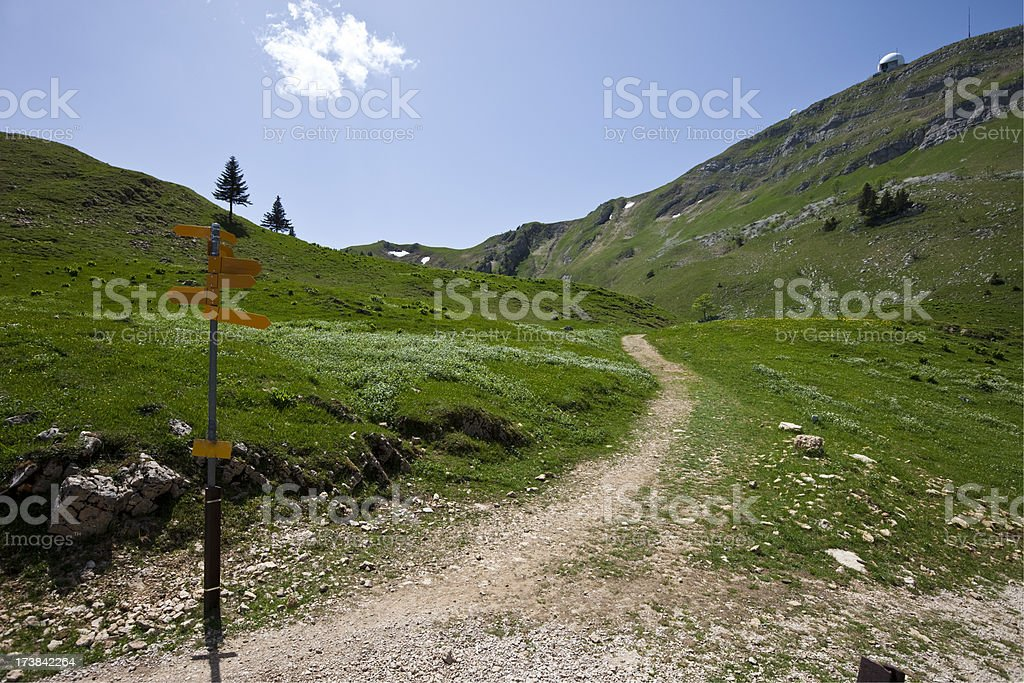 Swiss Alps with direction signs and path stock photo