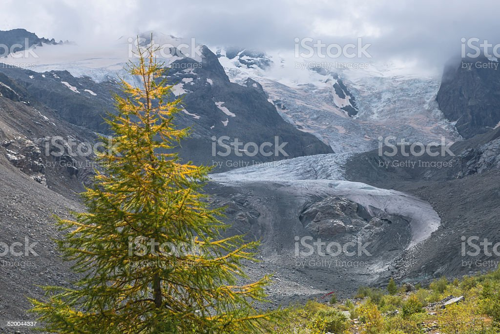 Swiss Alps with Glacier, Switzerland stock photo