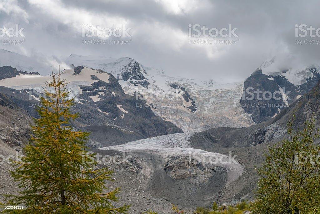 Swiss Alps with Glacier, Switzerland stock photo
