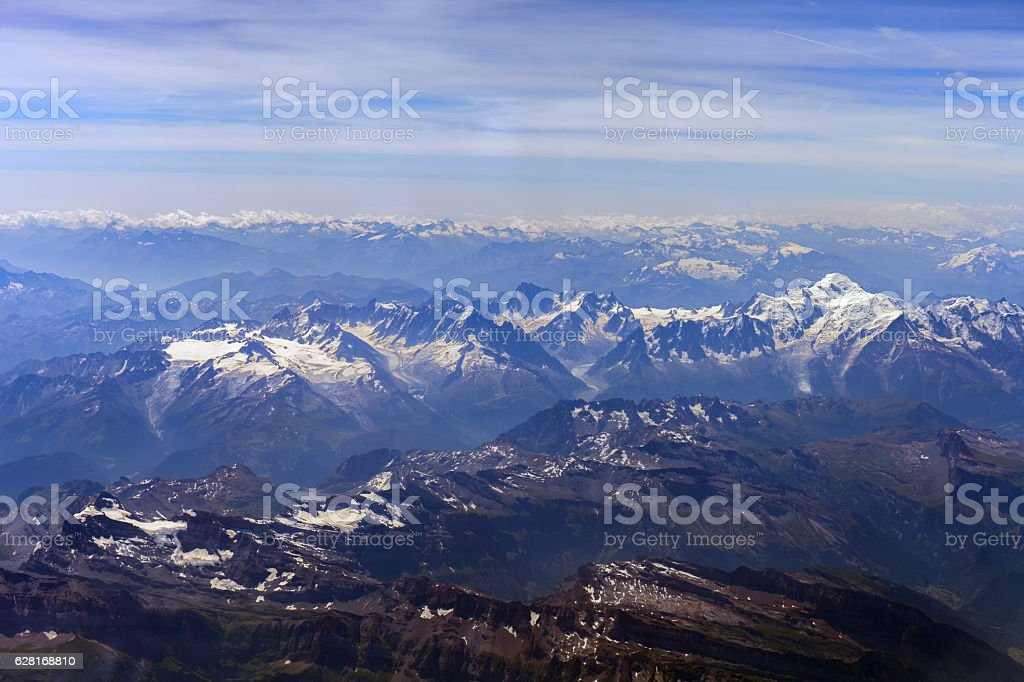 Swiss and French Alps. View from the bird's-eye stock photo
