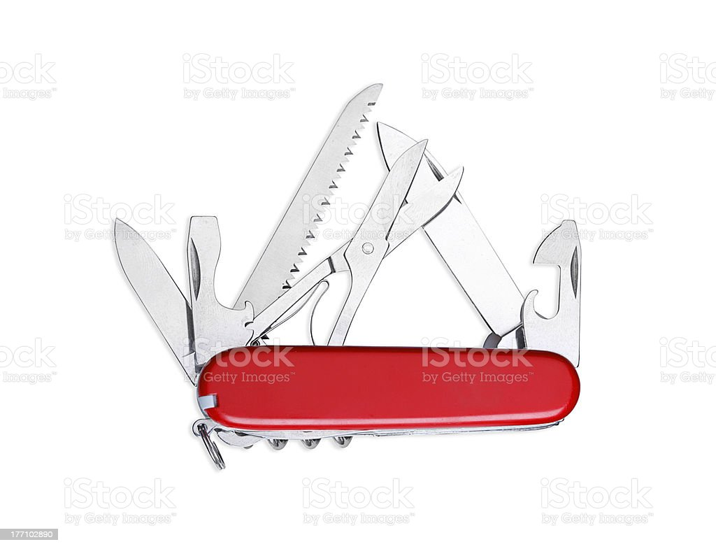 Swiss Army knife with lots of tools stock photo
