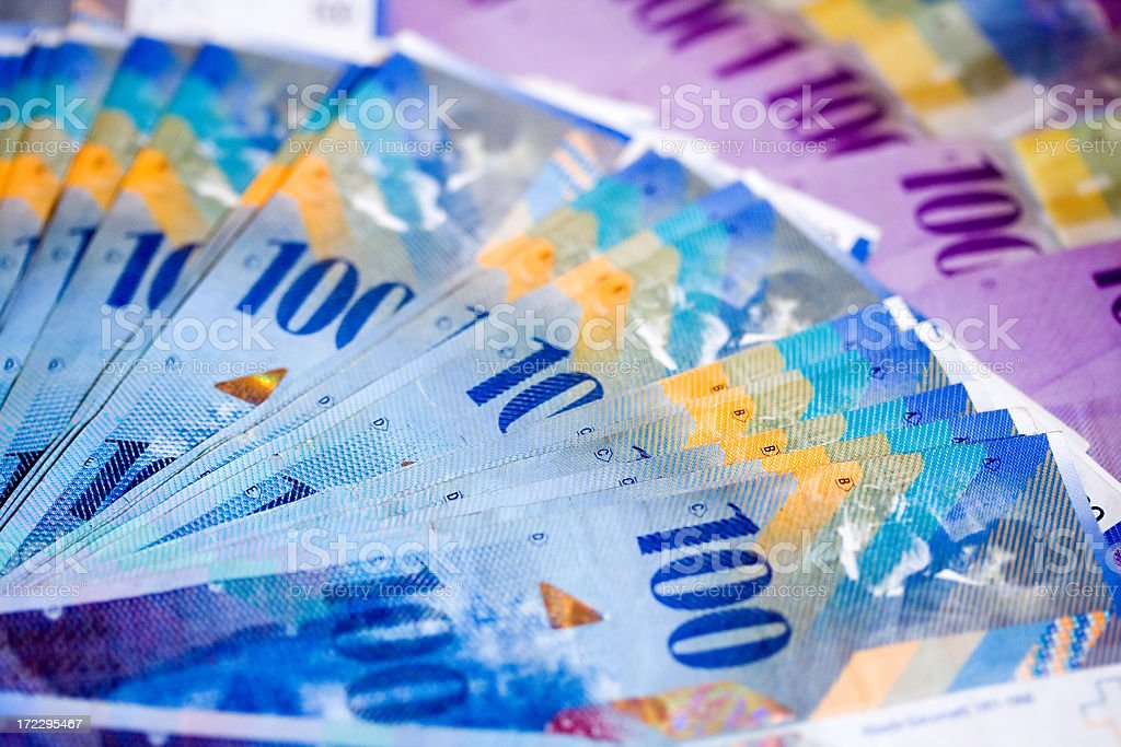 Swiss Bank Notes royalty-free stock photo
