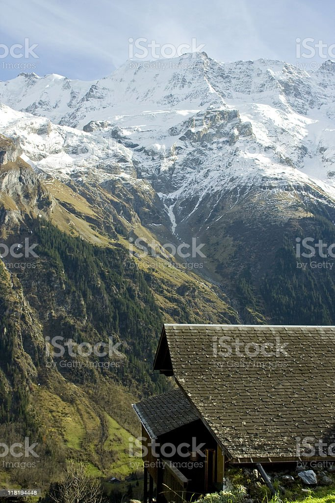 Swiss Cabin in the Alps royalty-free stock photo