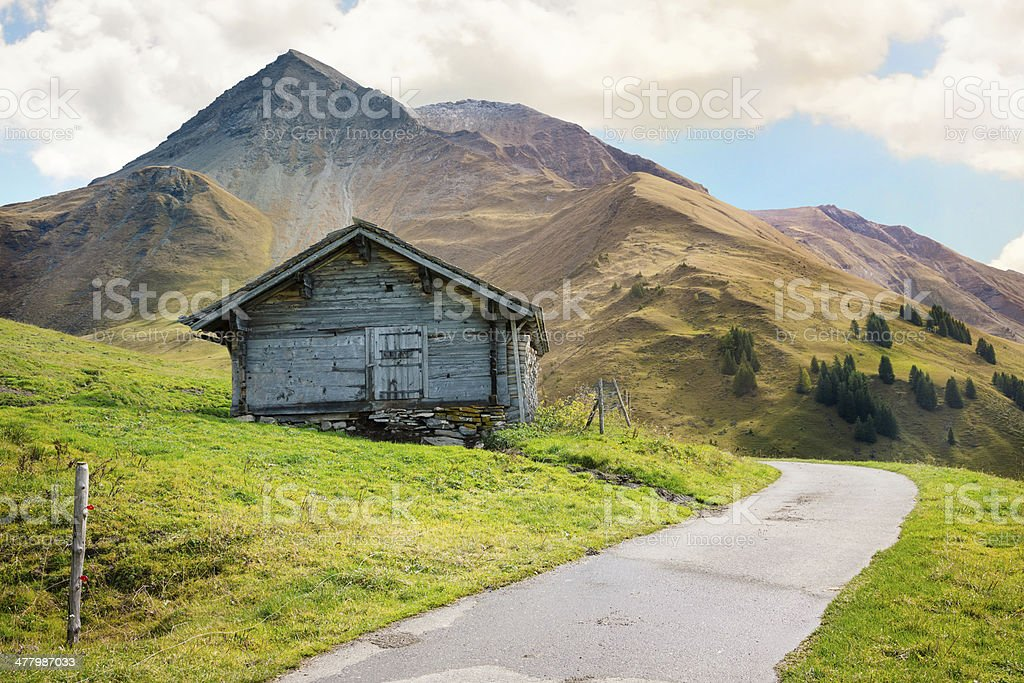 Swiss cabin in the mountains royalty-free stock photo