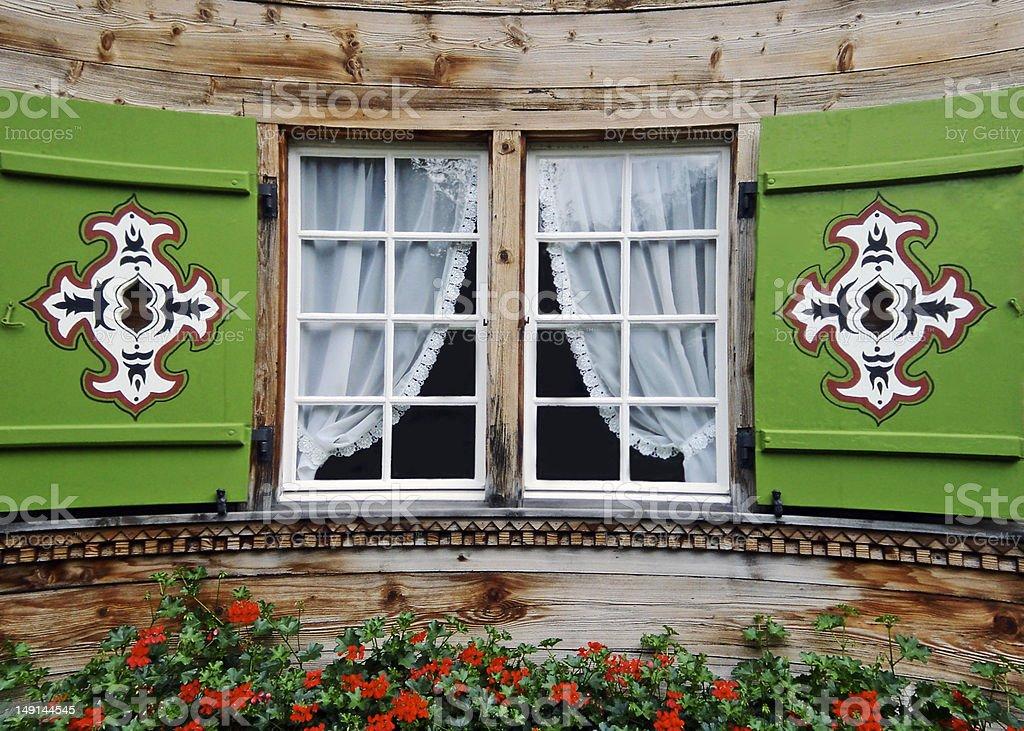 Swiss Chalet FlowerBox Window stock photo