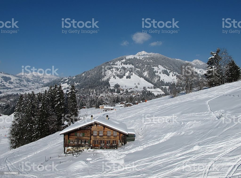Swiss Chalet in Gstaad royalty-free stock photo