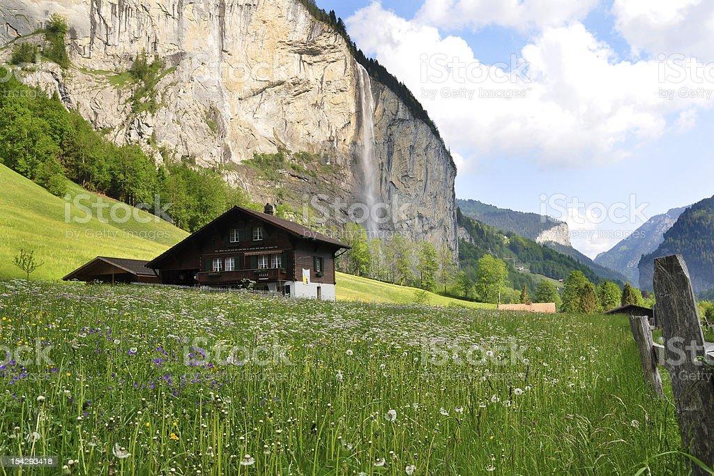 Swiss Chalet, Lauterbrunnen Valley, Switzerland stock photo
