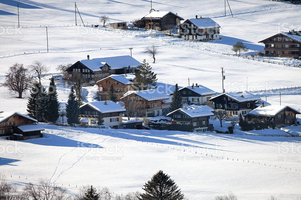 Swiss Chalets and Barns in Winter royalty-free stock photo