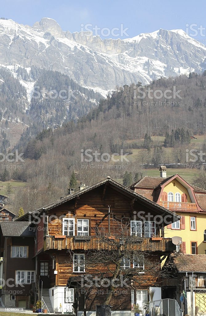 Swiss chalets in the lakeside town of Brienz, Berne, Switzerland stock photo