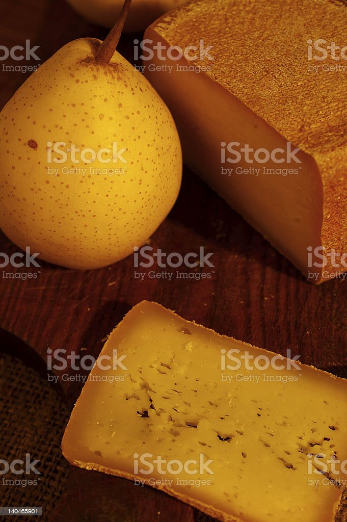 Swiss cheese and nashi (asian pear) royalty-free stock photo