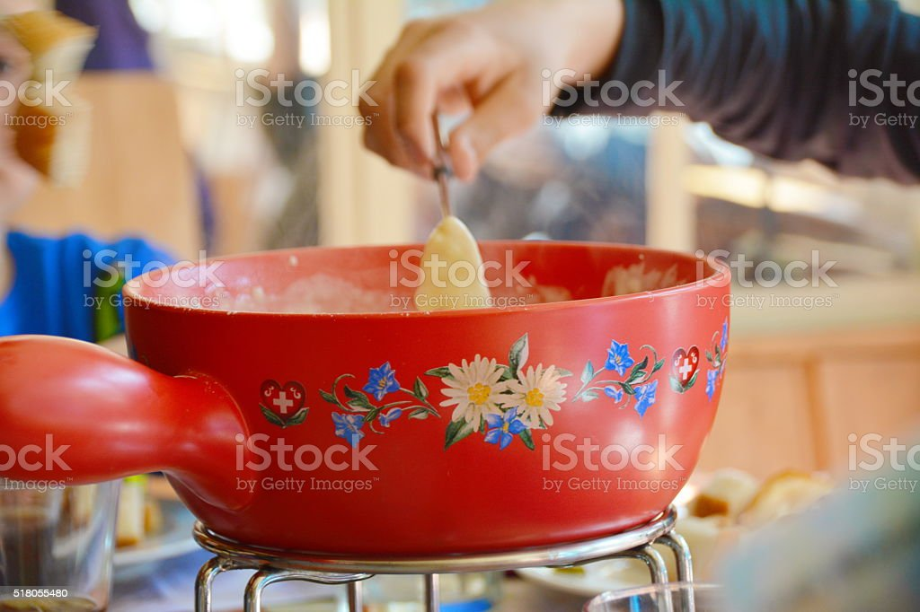 Swiss cheese fondue. stock photo