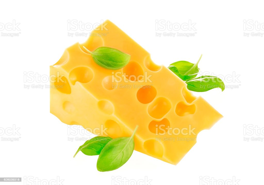 Swiss cheese isolated on a white background. stock photo