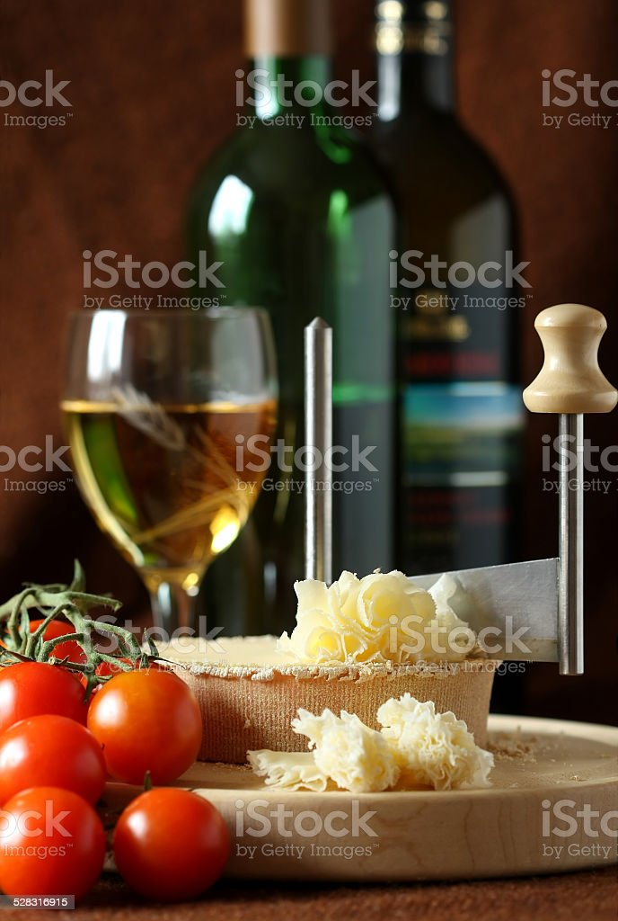 Swiss Cheese Specialty - Tete De Moine stock photo
