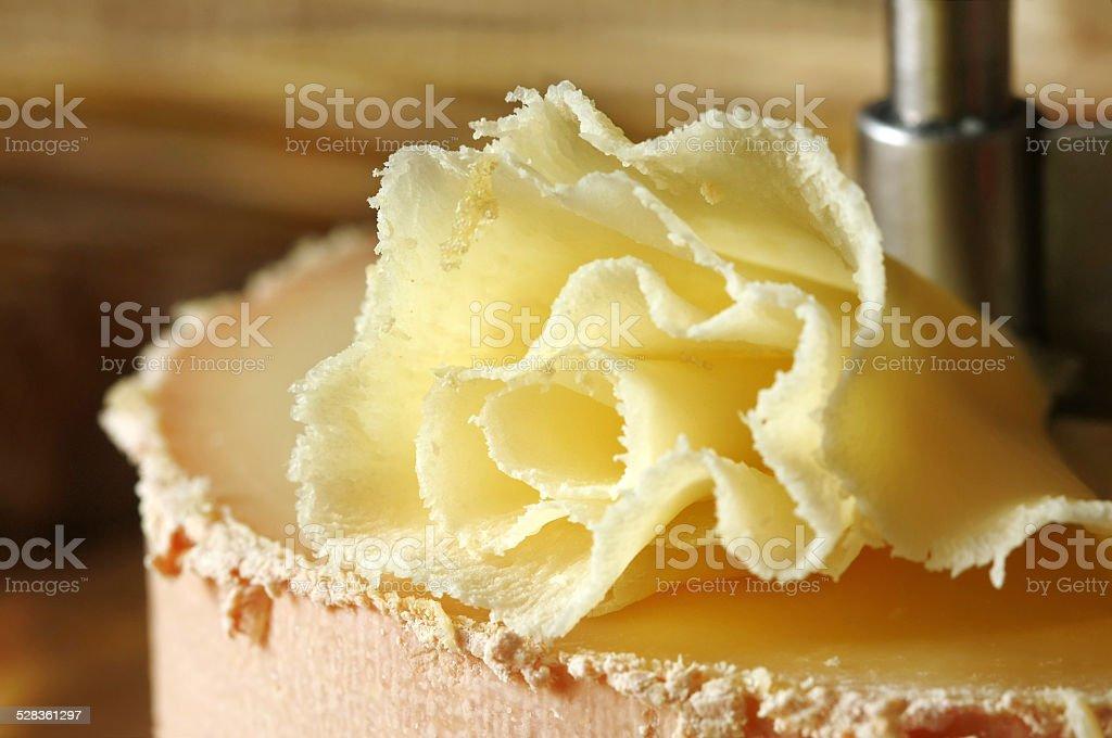 Swiss cheese specialty: Tete de Moine stock photo