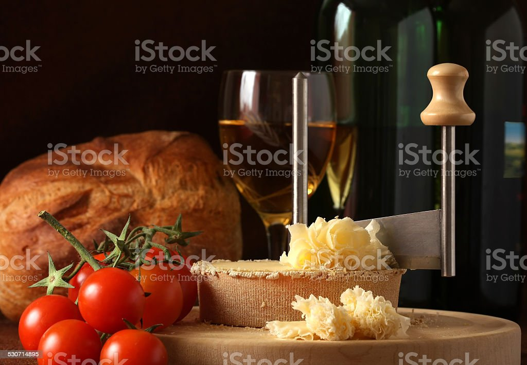 Swiss Cheese Specialty Tete de Moine stock photo