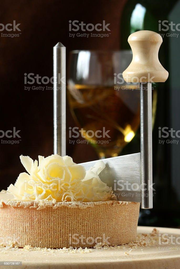 Swiss Cheese Specialty - Tete De Moine stock photo