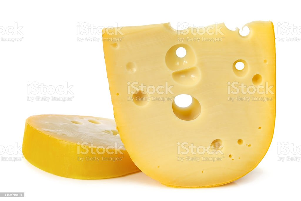 Swiss cheese with holes on white background stock photo