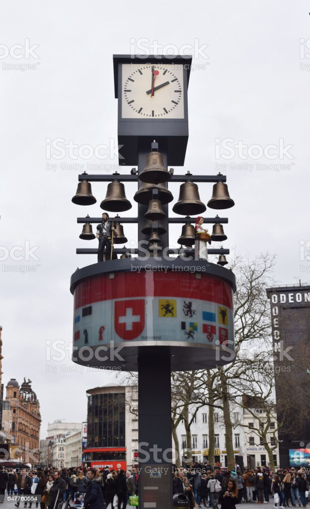 Swiss chime at Leicester Square in London stock photo