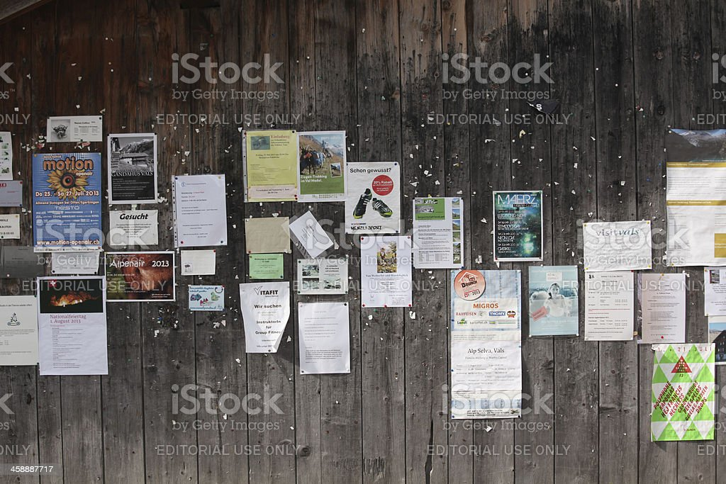 Swiss community information board in public royalty-free stock photo