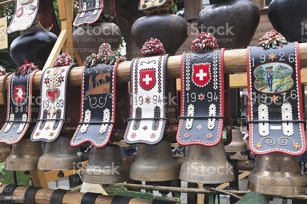 Swiss Cowbells for sale at the Saanen Brocante stock photo