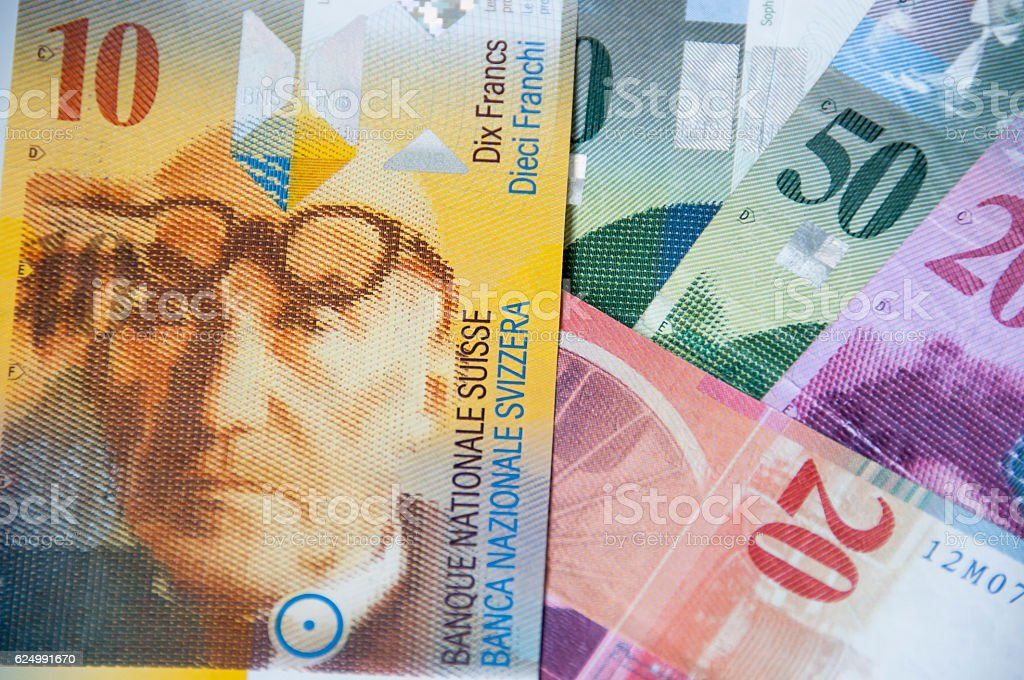 Swiss currency, franc stock photo
