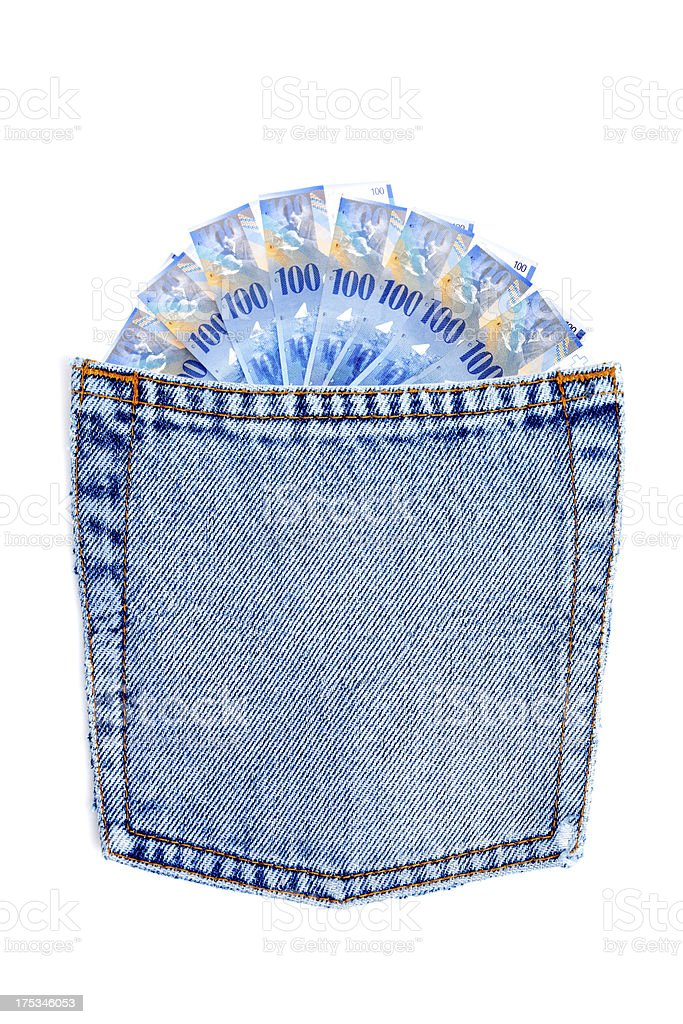 Swiss currency francs in  jeans pocket royalty-free stock photo