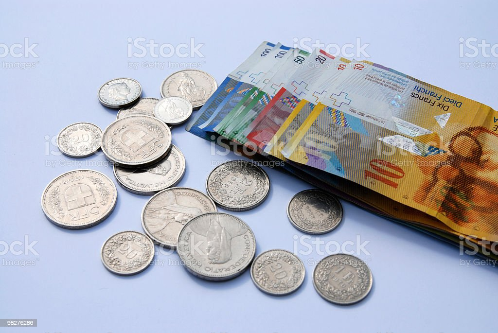 Swiss currency francs stock photo
