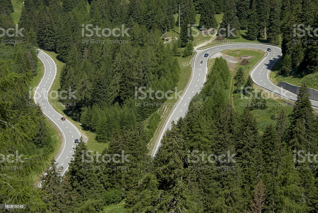 Swiss curving alpine road royalty-free stock photo