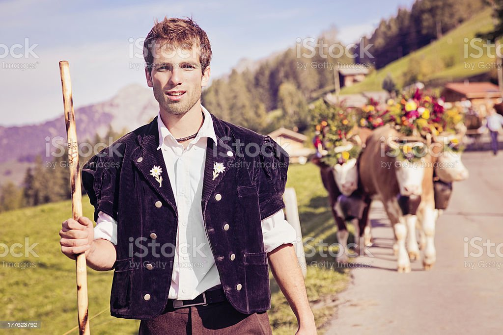 Swiss farmer leading decorated cows to Aelplerfest stock photo