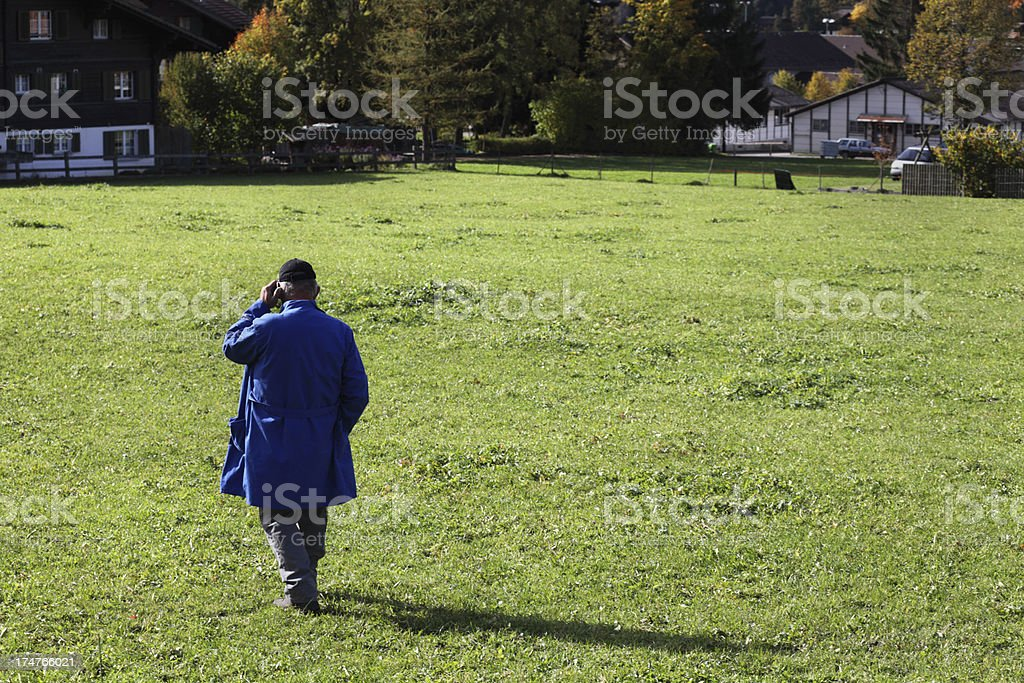 swiss farmer uses mobile against autumn meadow and alps royalty-free stock photo