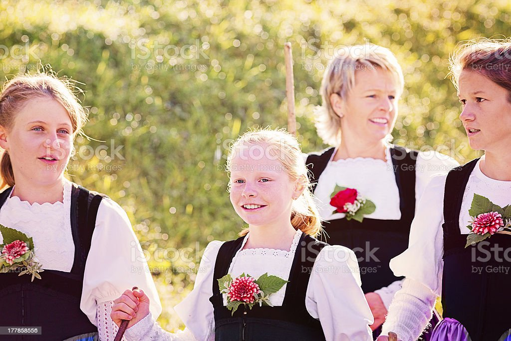 Swiss farming family dressed up for Aelplerfest royalty-free stock photo
