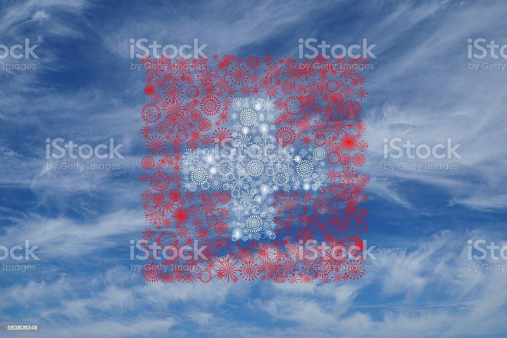 swiss fireworks flag on blue sky stock photo