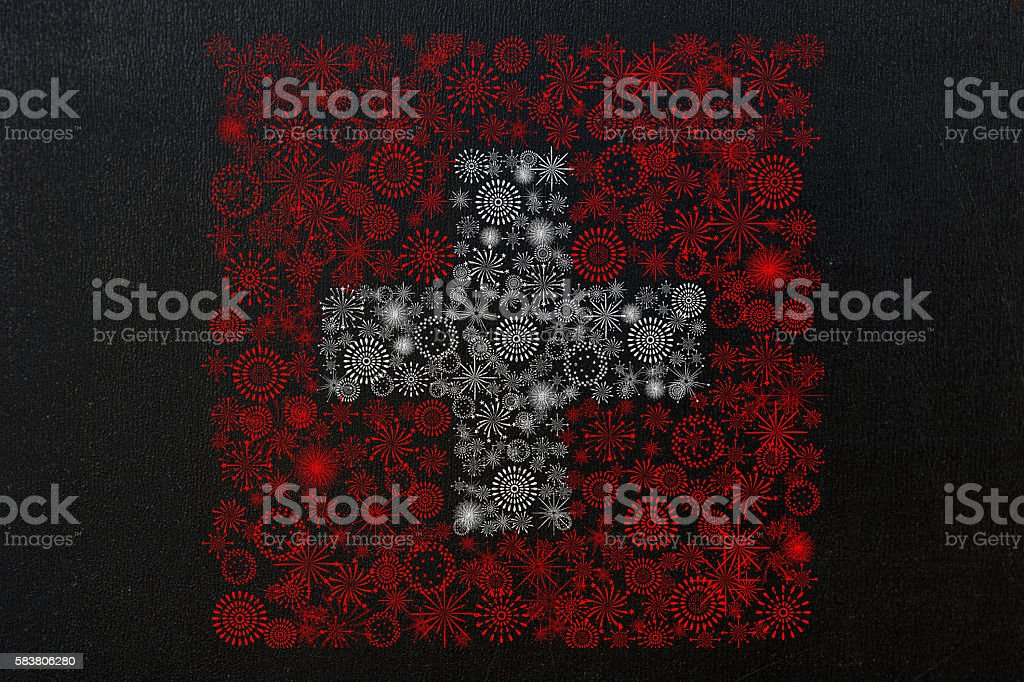 swiss fireworks flag on chalkboard stock photo