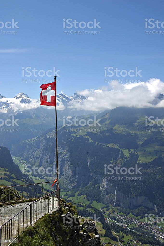 Swiss Flag and Alps royalty-free stock photo