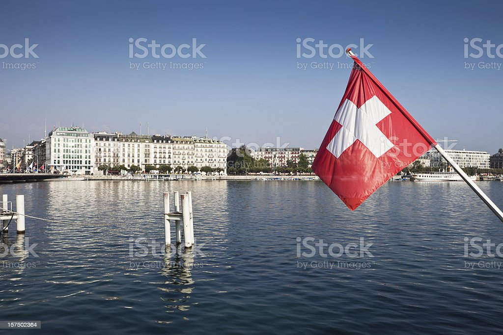 Swiss Flag and Lake Geneva stock photo