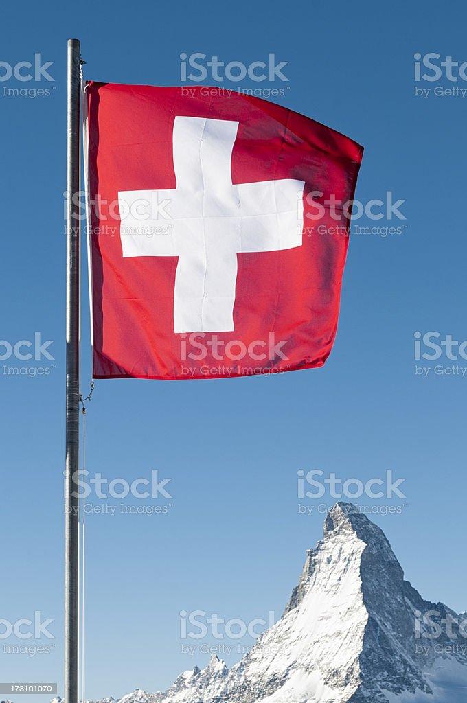 Swiss Flag and the Matterhorn's Peak royalty-free stock photo