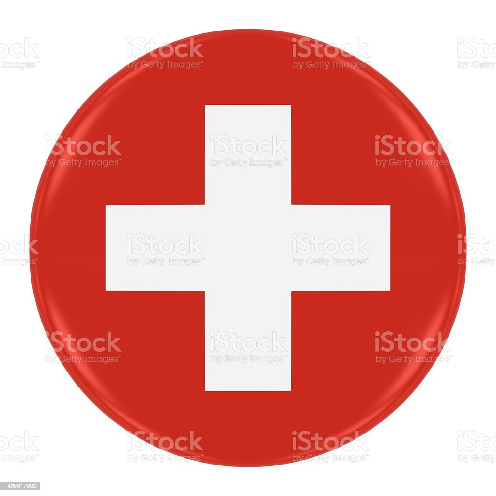 Swiss Flag Badge stock photo