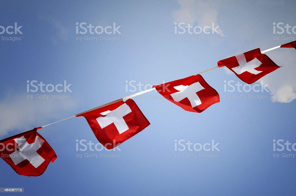 Swiss flag bunting stock photo