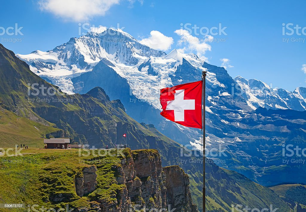 Swiss flag stock photo
