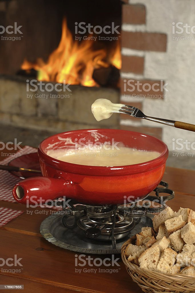 Swiss fondue dinner stock photo