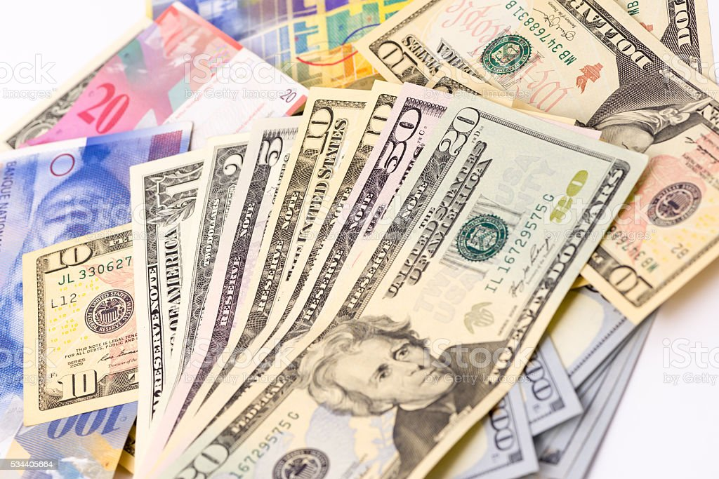 Swiss Franc and group Dollars stock photo