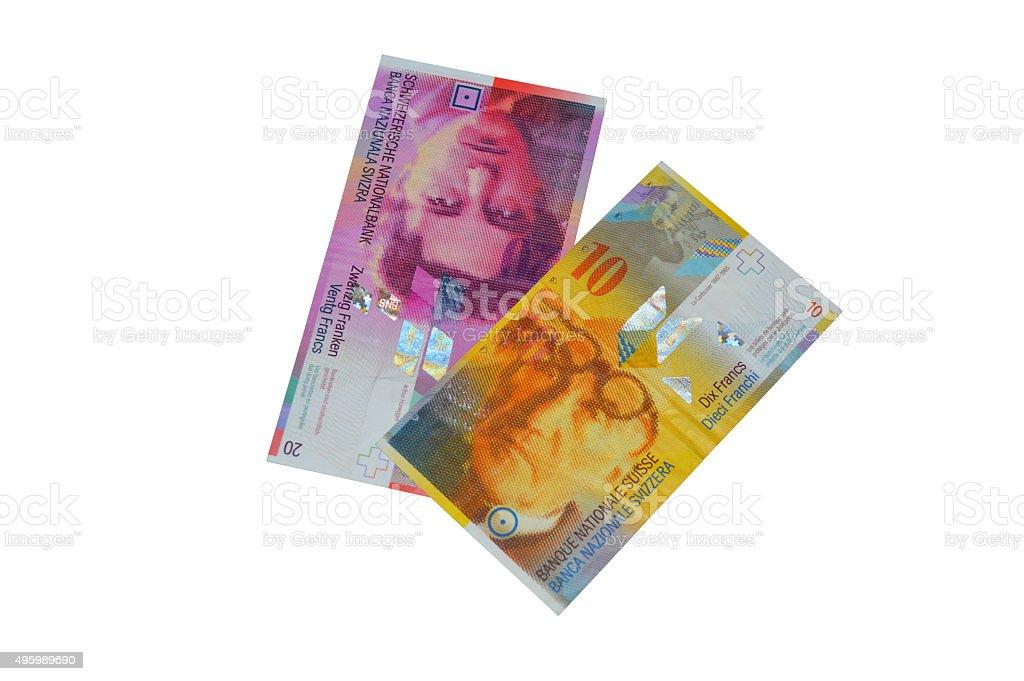 Franco suizo billete de banco de chf foto de stock libre de derechos