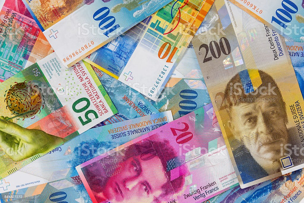 Swiss franc banknotes as background stock photo
