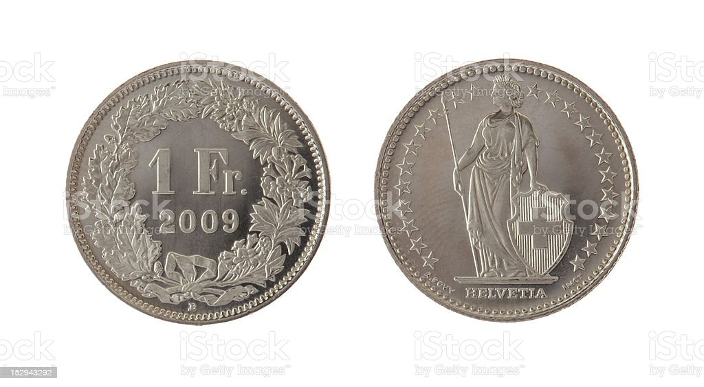 Swiss Franc Coin Isolated on White stock photo