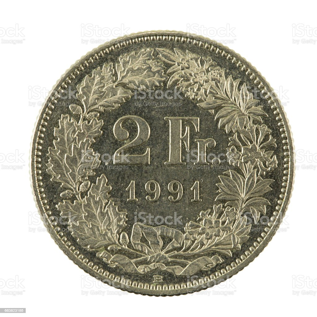 2 swiss franc coin (1991) obverse isolated on white background stock photo