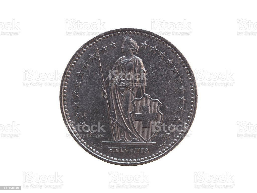 Swiss Franc coin stock photo
