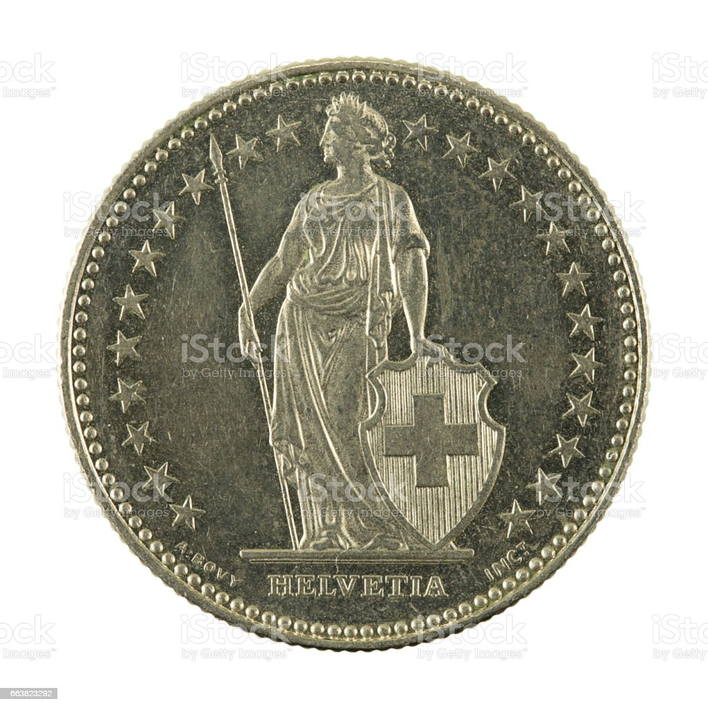 2 swiss franc coin (1991) reverse isolated on white background stock photo